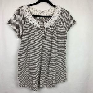 Lucky Brand Striped Top Large Crochet Neckline
